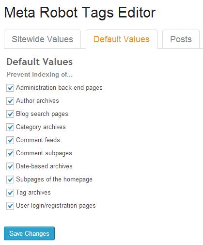 Meta robot tags settings in SEO Ultimate WordPress plugin