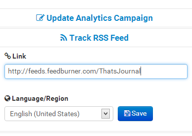 Set up social analytics campaign to analyze RSS feed URL