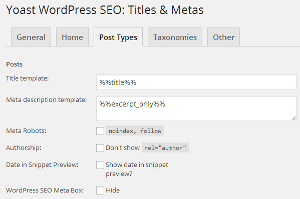 Title and meta description settings for posts in WordPress SEO by Yoast plugin