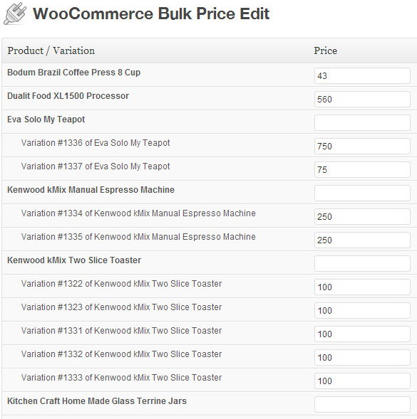 Edit Price Of Multiple Products At Once In WooCommerce