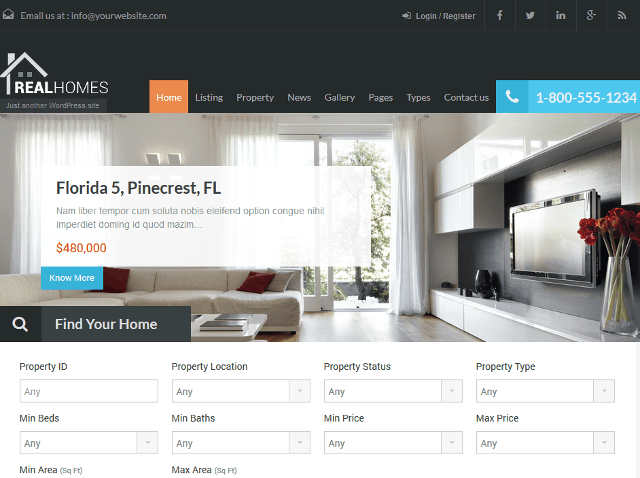 Responsive Real Estate WordPress Theme With Property Listings