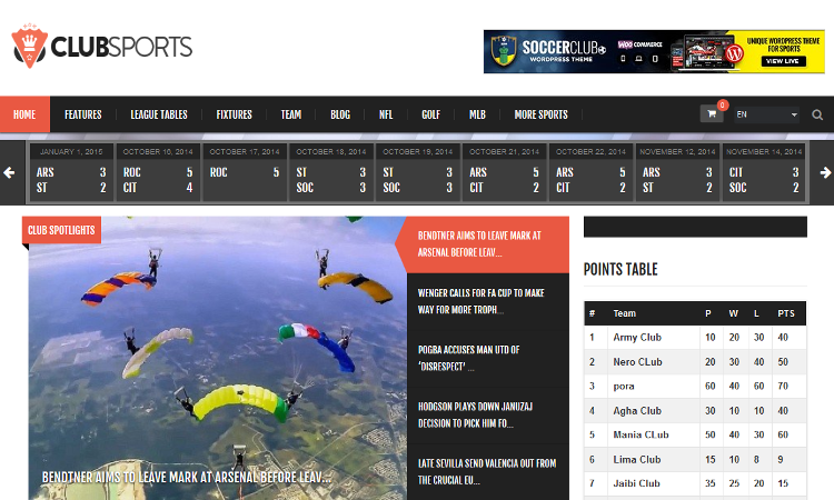 Club Sports WordPress Theme