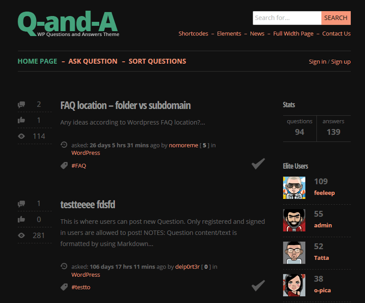 Q-and-A WordPress Theme