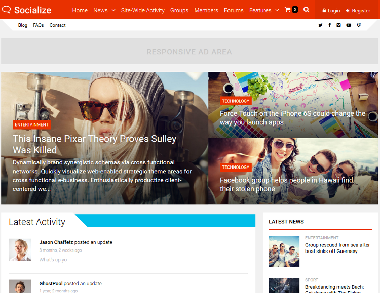 Socialize WordPress Theme