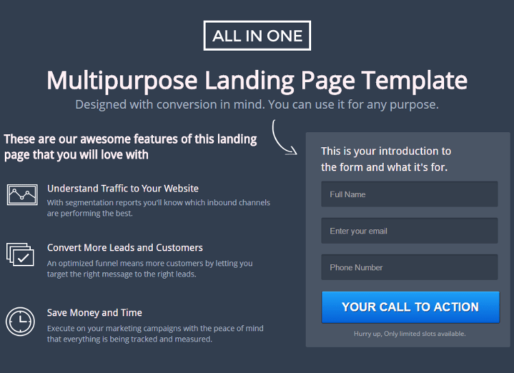 All in one Unbounce Landing Page Template