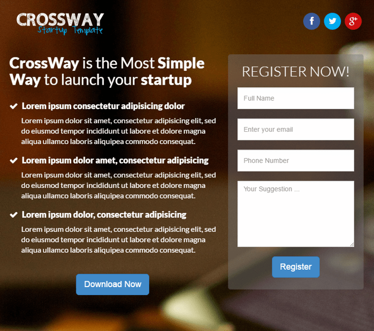 Crossway Landing Page Template