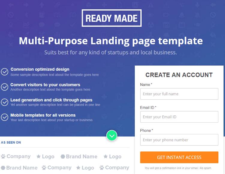 Readymade Pagewiz Landing Page Template