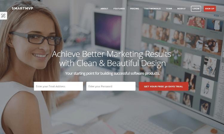SmartMvp Startup Landing Page Template