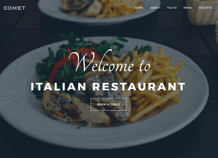 Comet Restaurant Drupal Theme