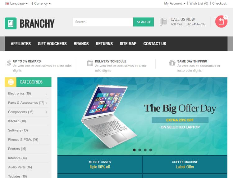 Branchy OpenCart Theme