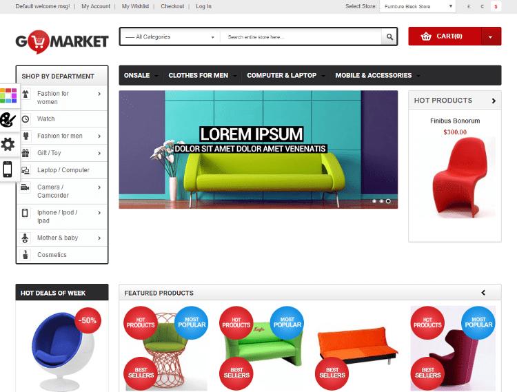 Gala GoMarket Furniture Store Magento Theme