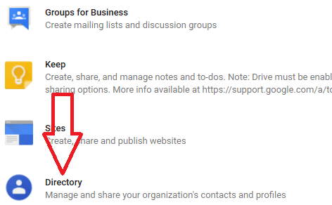 In Services page, click on Directory on the bottom of page