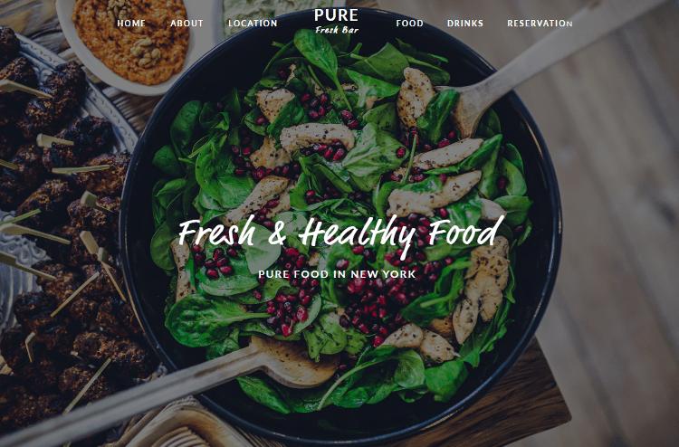 Pure Restaurant Adobe Muse Template