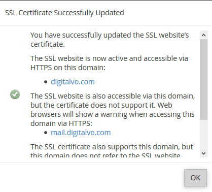 You have successfully updated the SSL website's certificate
