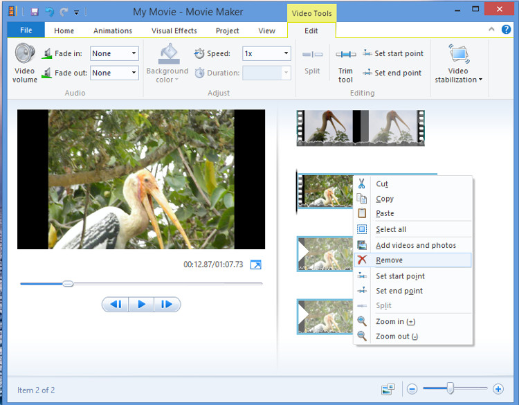 Crop and edit video in Movie Maker