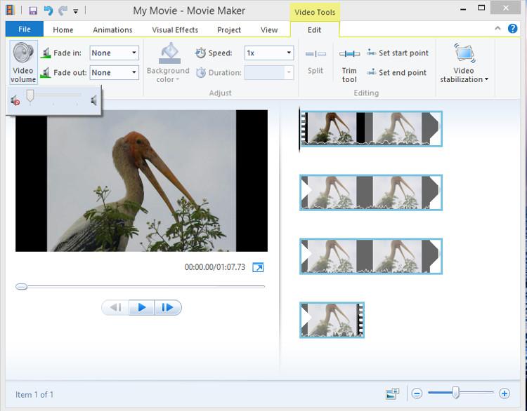 Remove video volume in Movie Maker