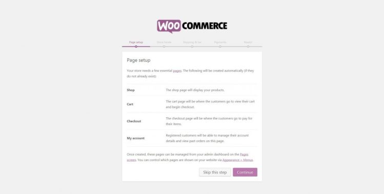 Click Continue to get main store pages installed in WooCommerce
