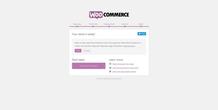 Your WooCommerce e-store is ready