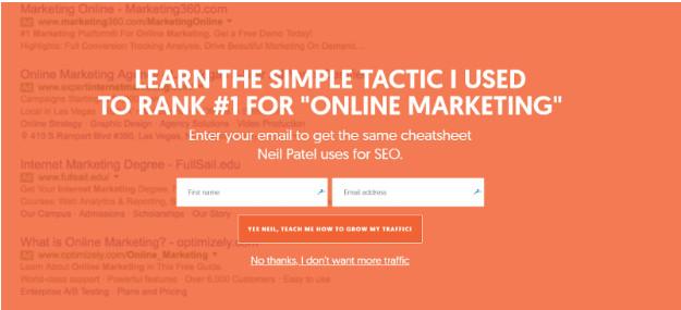 Pop up in Neil Patel's blog