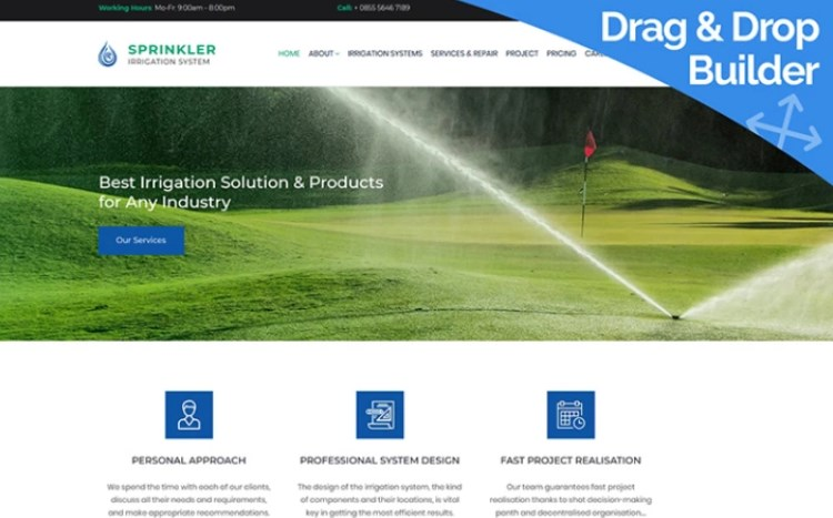 Irrigation Website Template for Lawn Watering and Water System Websites