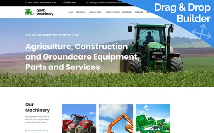 Tractor Website Template for Agricultural Machinery Manufacturer