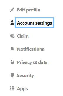 Account settings in Pinterest
