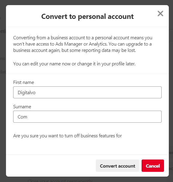 Convert to personal account from business account in Pinterest