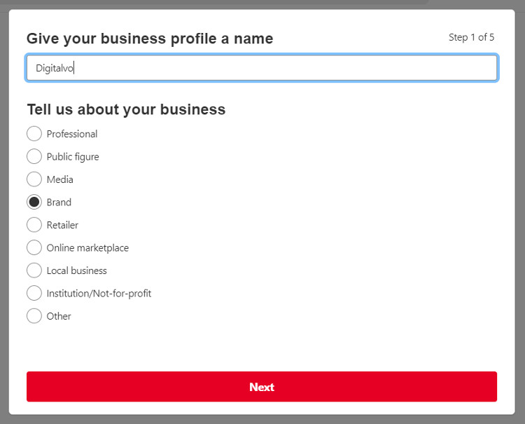 Give your business profile a name in Pinterest