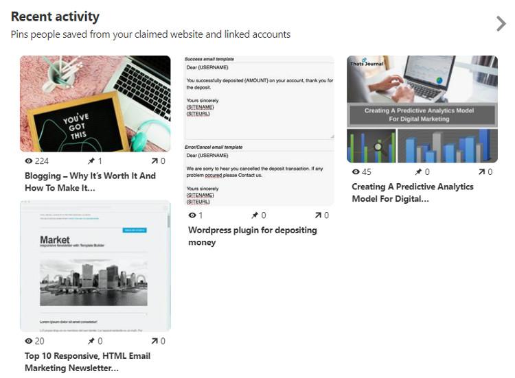 Recent activity in Pinterest business account
