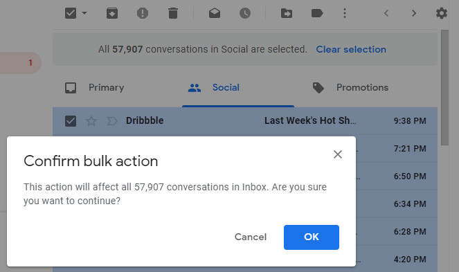 Confirm bulk action in Gmail