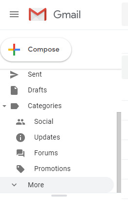 Scroll down in Labels and click on More in Gmail
