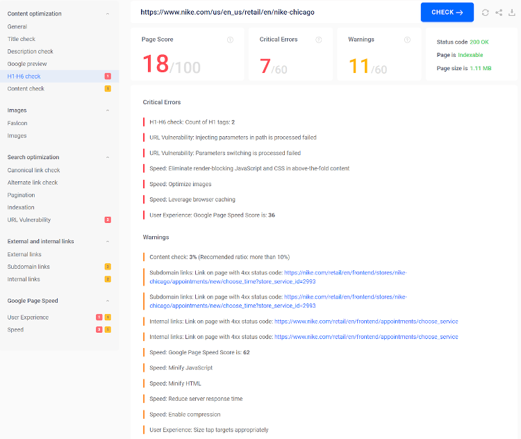 Auditing a site for on page SEO using Sitechecker