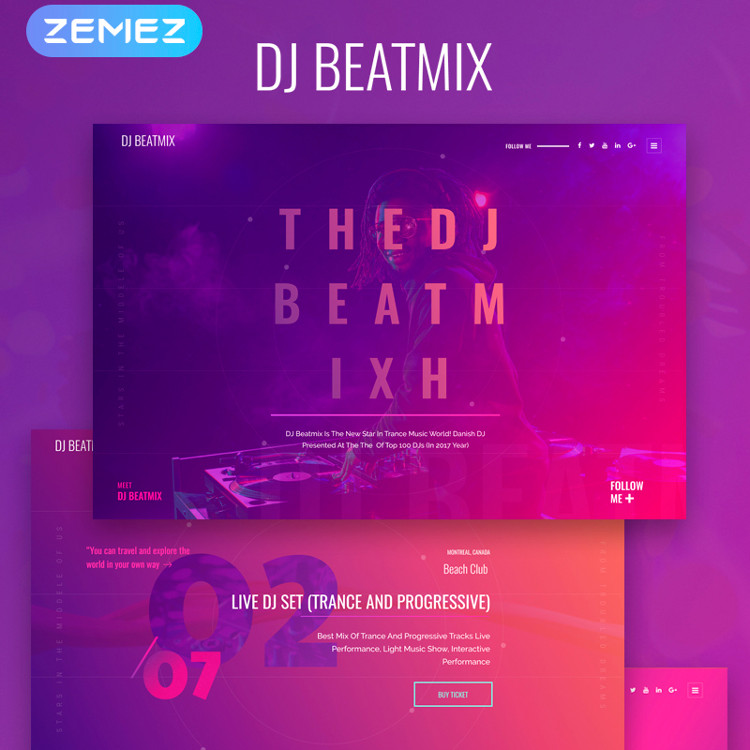 DJ Beatmix - Personal Page Elementor WordPress Theme