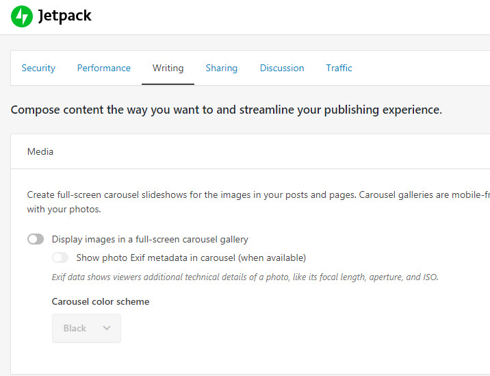 Writing tab settings in Jetpack WordPress plugin