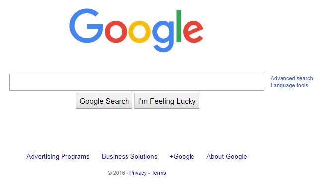 Главная страница Google 2016