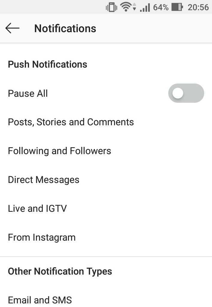 How to change Notification settings in Instagram