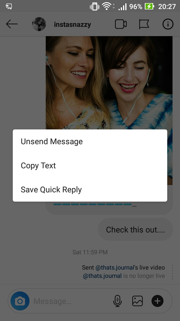 How to unsend a message in Instagram