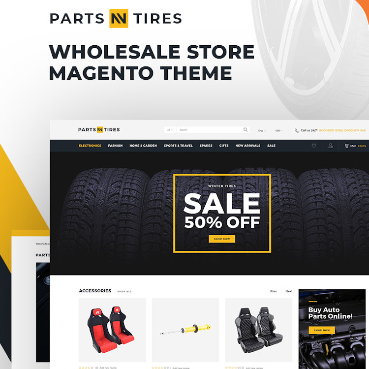 Parts'n'Tires - Car Tuning Magento Theme
