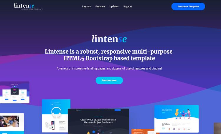 Lintense landing page template