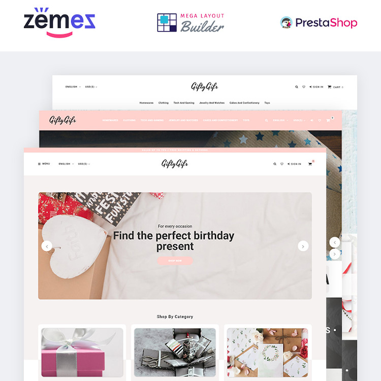 GiftyGifts - Giftware Store Ecommerce PrestaShop Theme