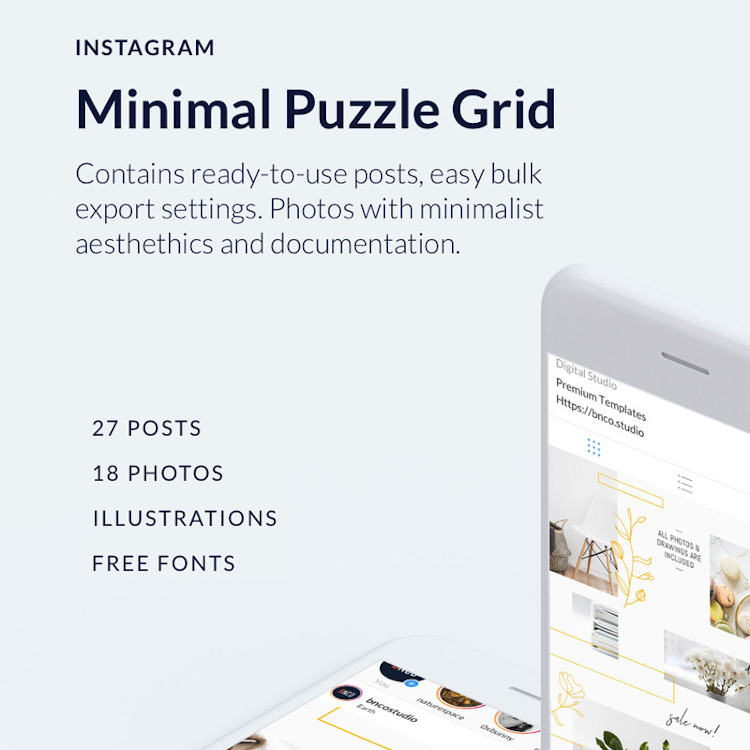 Minimal Instagram Puzzle Grid Photos and Fonts