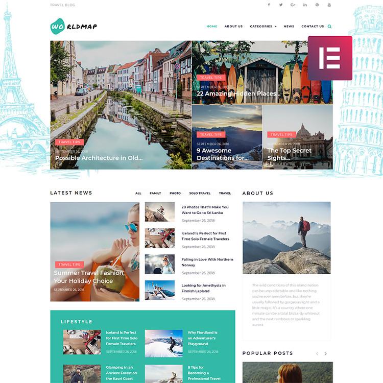 WorldMap - Travel Photo Blog Elementor WordPress Theme
