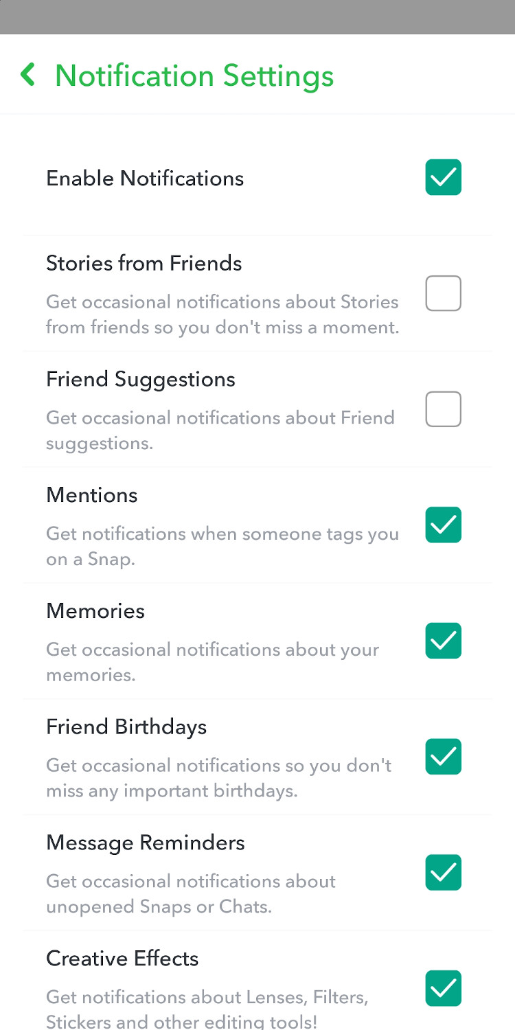 Change Notification Settings in Snapchat