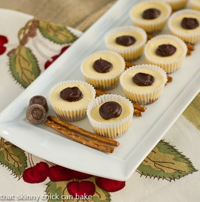 Mini Rolo Cheesecakes with Pretzel Crust