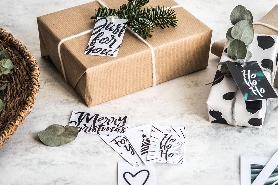 Geschenkanhänger für Weihnachten zum freien Download