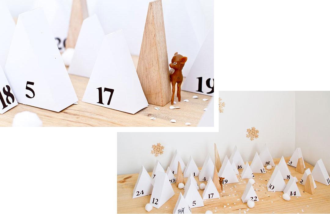 minimalistische Adventskalender zum Selbermachen mit Holz und Papier