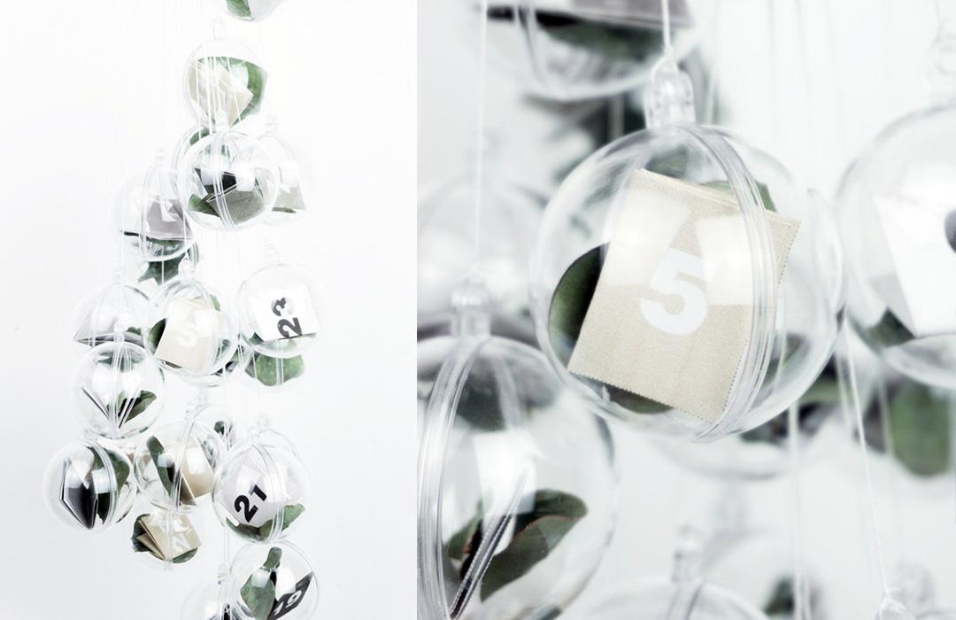 minimalistische Adventskalender mit Eukalyptusblättern zum Selbermachen