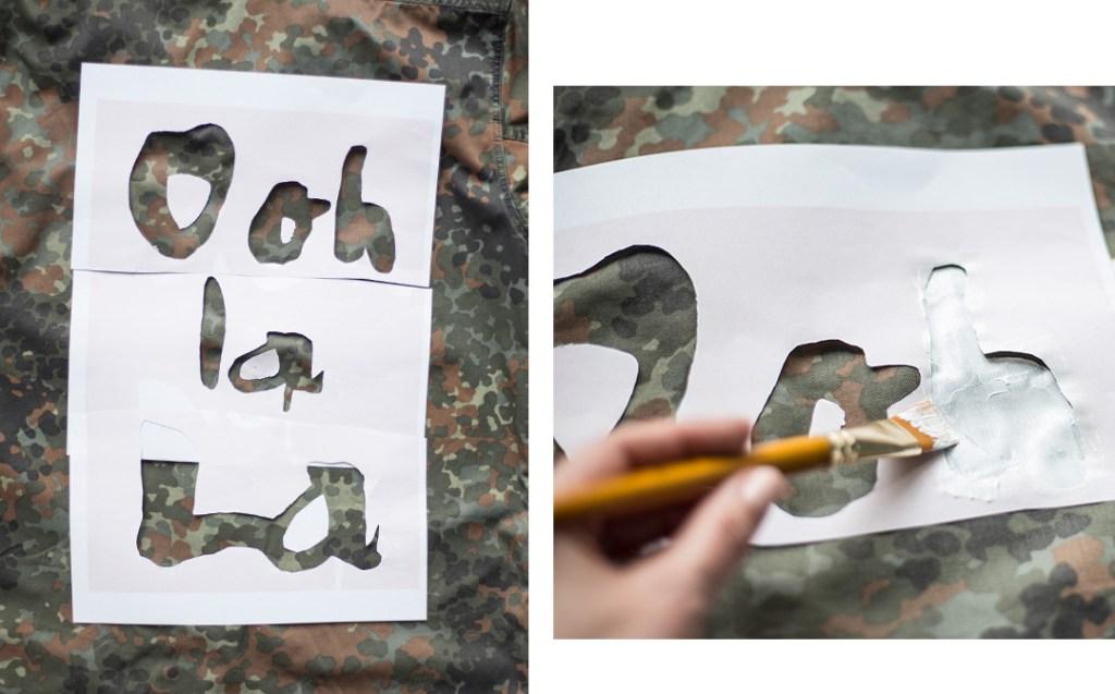 Military jacket Upcycling, Schablone nachmalen