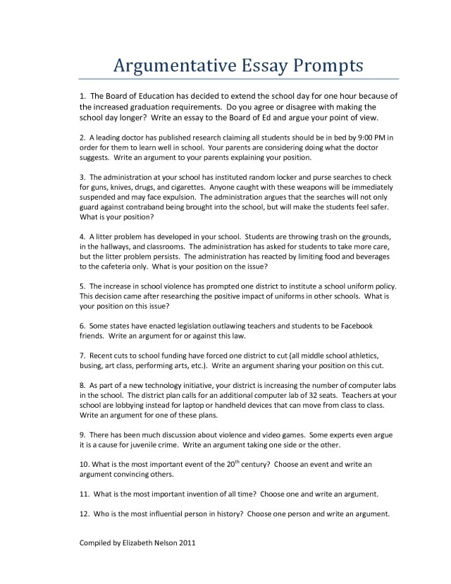 argumentative essay examples middle school pdf