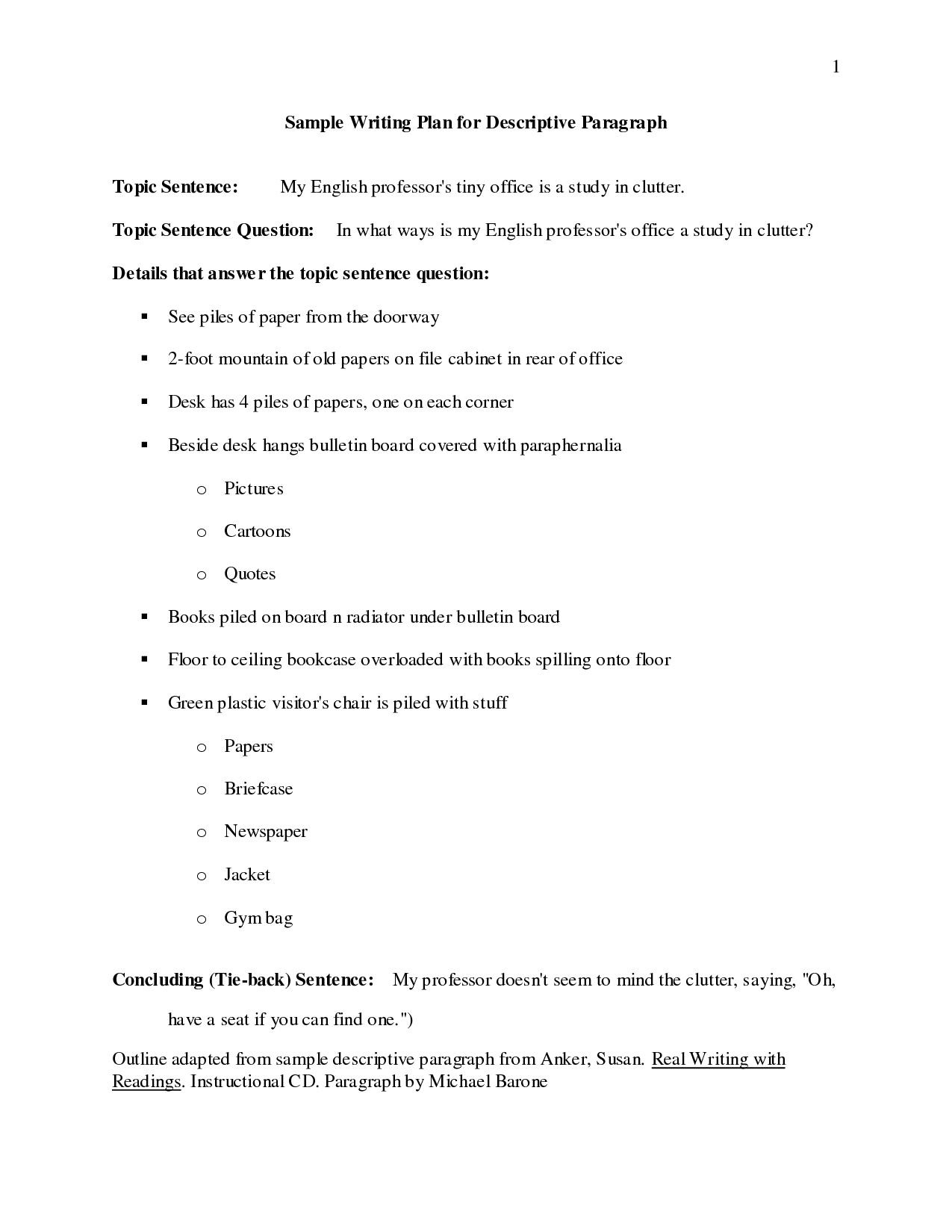 Descriptive Essay Outline Template